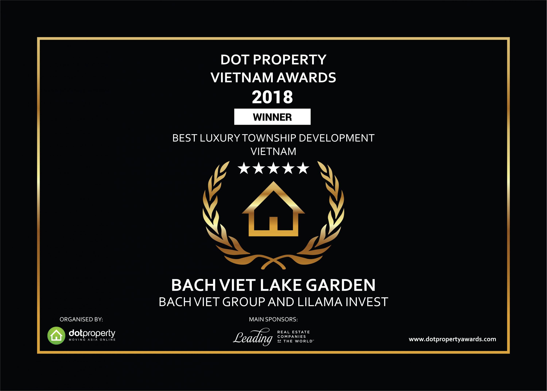 Bách Việt Lake Garden thắng lớn tại giải thưởng DOT Property Award 2018